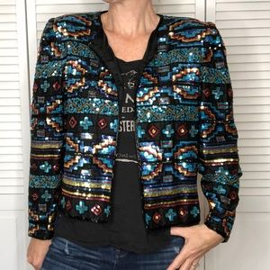 Vintage Silk Sequin/Beaded Bolero Cropped Jacket M